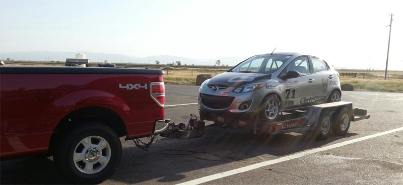 CorkSport Mazda 2 on trailer