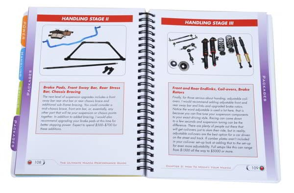 Inside pages of the Mazda Performance Guide CorkSport