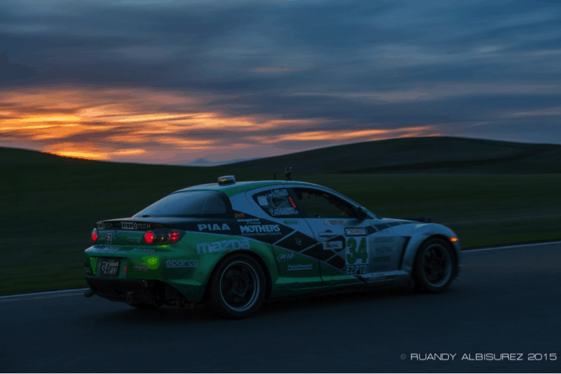 Mazda RX8 racing at sunrise