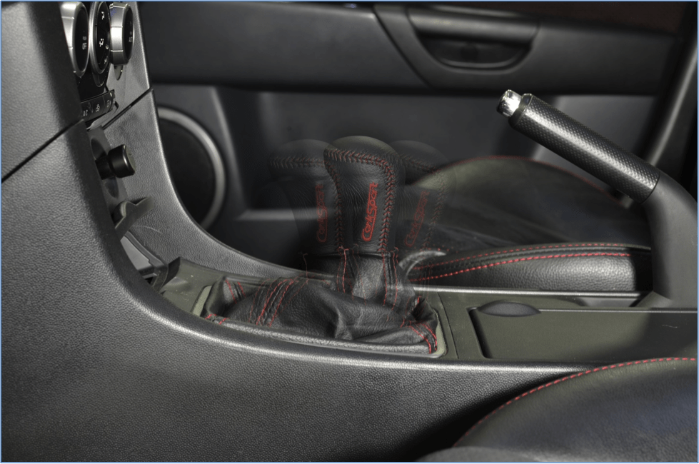 This image shows the forward, neutral, and back positions of the CorkSport Short Shifter in its shortest height and shortest throws position.