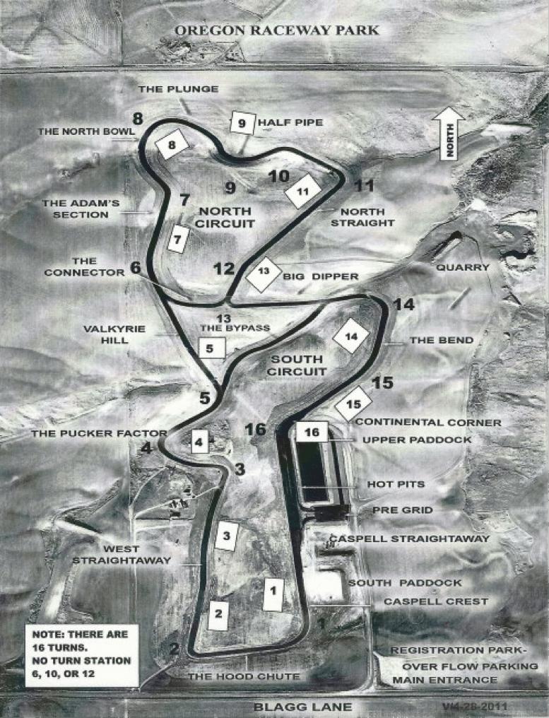 Oregon Raceway Map