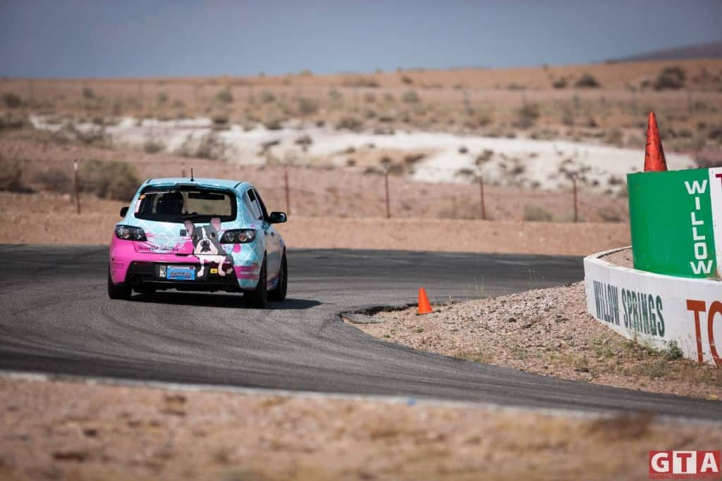 Bret Nicoletti with his dog car aka #rooneyspeed RD3 at Global Time Attack around Willow Springs International Raceway.