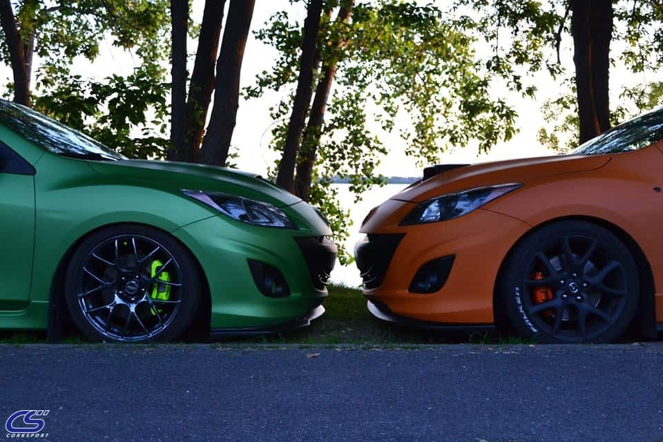 Mazda looking fresh with a green wrap and an orange wrap.